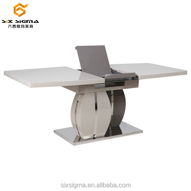 modern extendable dining table with high gloss top and wooden base