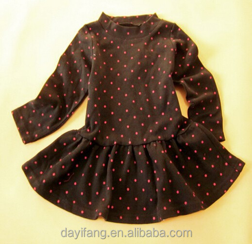 9d4f3d6c0678 Baby Girls Full Hand Black Cotton T-shirts Small Tops With Red Spots ...