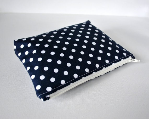 Woman's Cosmetics Bag Padded Travel Polka Dot Spot Print in Navy Blue and White CT0124