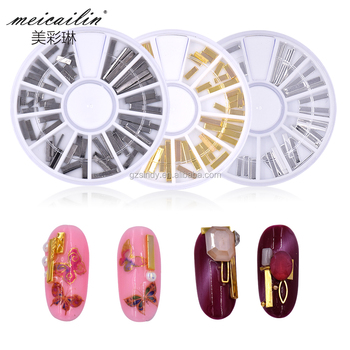 Metal alloy Black Silver and Golden Sticker for Nail art decoration