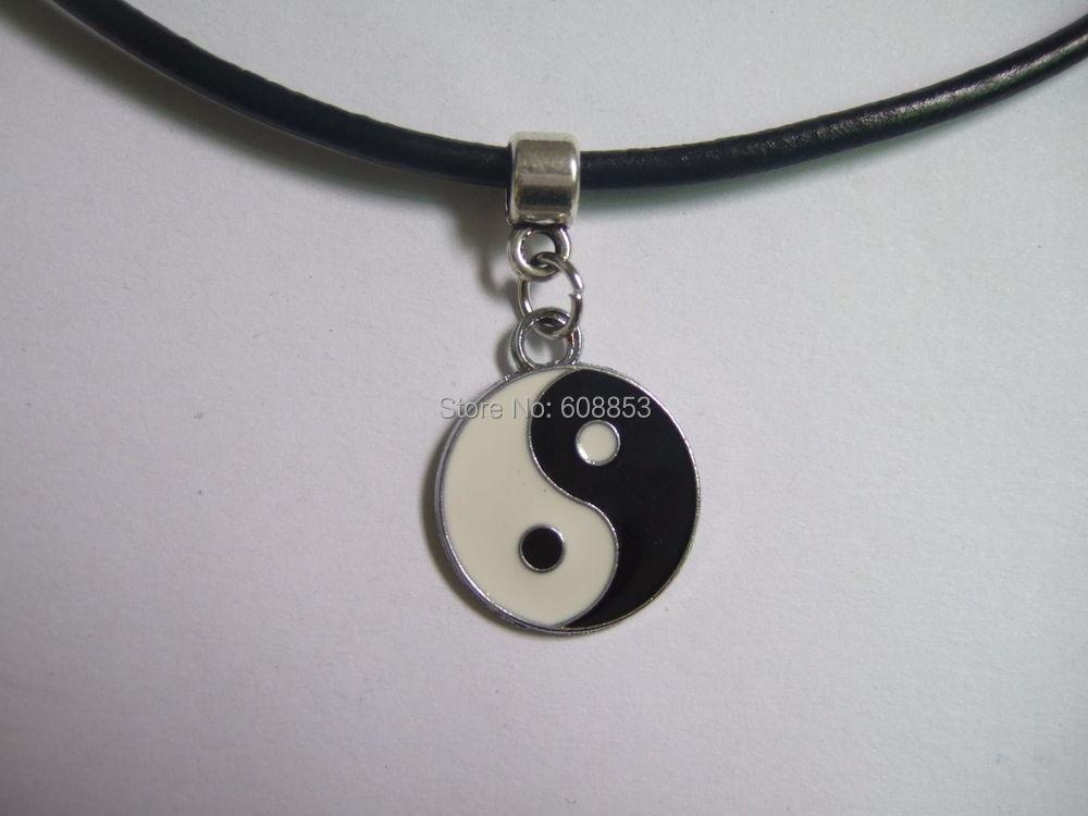 בציר כסף שחור עור אמיתי כבל קולר שרשרת קסם פיל יד חמסה שמש ירח-90.