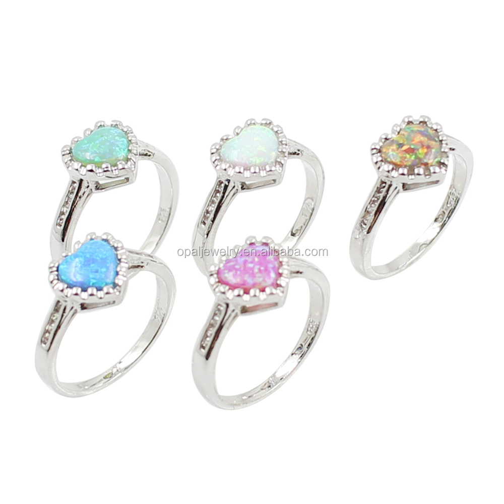 LOVE! PROMISE! Blue, Purple & White Opal Heart 925 Sterling Silver Ring Design