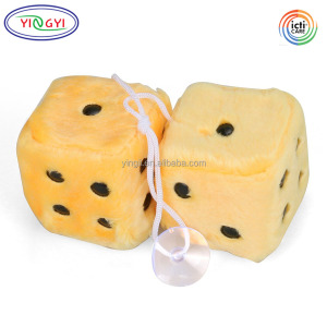 D788 3 inch Retro Square Mirror Hanging Dice Couple Fuzzy Plush Dice With Dots Ornament Decoration Plush Car Accessories