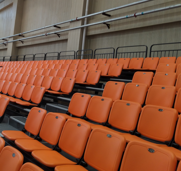 Vogue telescopic seating retractable seating tribune railing system with backrest