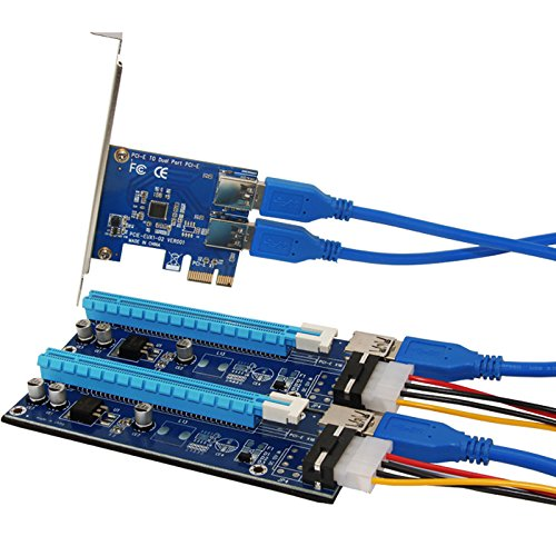 PCIe Riser Card 1 to 2 PCI-E 1X to PCI-E 16X Slot With USB 3.0 Power Cable Mining Adapter Conveter for BitCoin