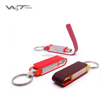 cooperation gift leather pen drive with key ring & with full color printing logo 16gb