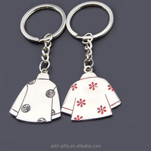 Soft enamel cute lovers clothes metal key chain for decoration and souvenir