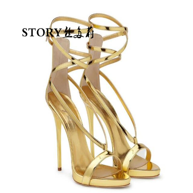 gold sandals ankle open nude sexy plus pump high pu size size peep thin 34 heels ol shoes toe 46 strappy stiletto wedding OxB1Yq