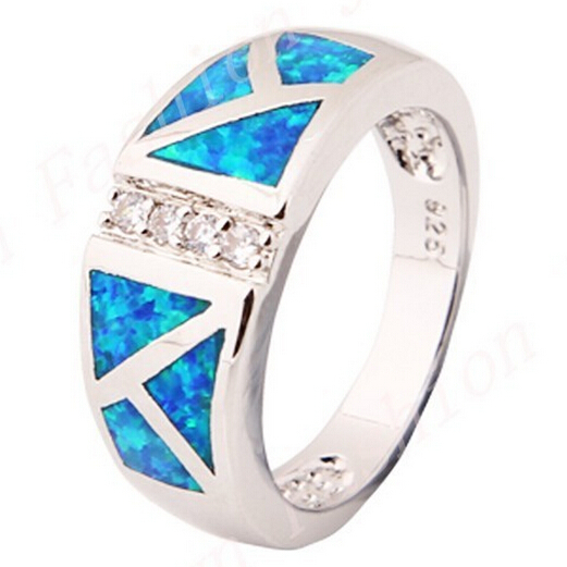 10ps/lot Size 6/7/8/9 Opal Stone Finger Rings 10KT White Gold Filled Fashion Jewelry Ring For Women Lady NEW  Arrival RP0015