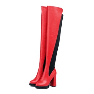 Top grade wear-resistant rubber sole round head high heel ladies wholesale women shoe boots