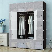 Black color 20 cubes DIY plastic clothes cabinet with pattern
