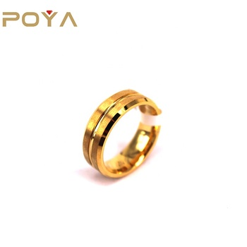 POYA Jewelry 8mm Gold Tungsten Carbide with Groove Brushed Surface Wedding Band Ring Comfort Fit