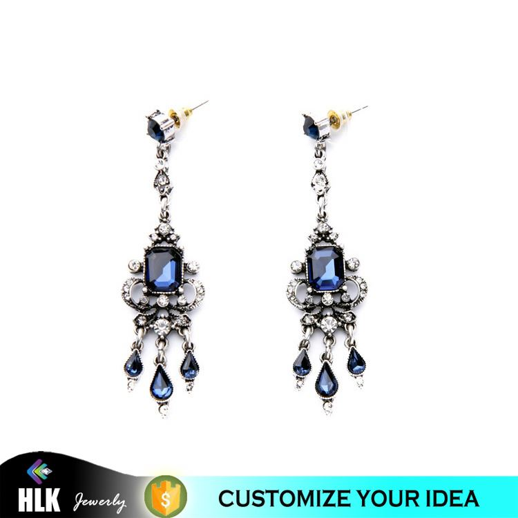 Design Your Own antique turkish ottoman jewelry Dark Sapphire Glass Stone Dangle Earrings