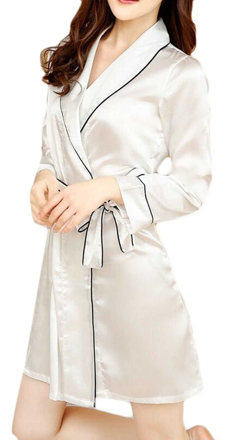 489bfd8a99 Get Quotations · Cromoncent Womens Belted Satin Silky Housecoat Sleepwear Bathrobe  Robe