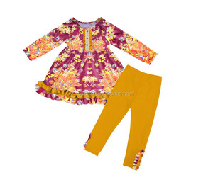2018 Fashion floral girls clothing sets boutique kids apparel ruffle baby clothes