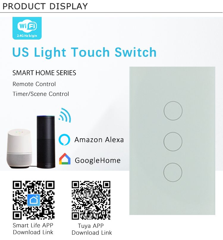 10A Tuya WIFI 3Gang 1 2 3 Way Wall Light Electrical Switch Supports 4MM Tempered Touch Glass and CE RoHS FCC Certification