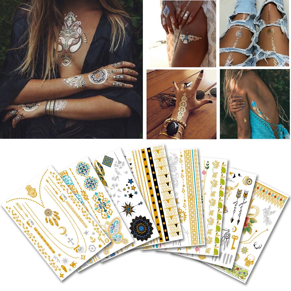 Metallic tijdelijke tattoos inkt henna body hand gold tattoo stickers letters verwijderbare volwassen vagina waterdicht 2018 nieuwe tattoo