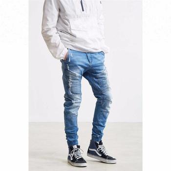 b326b61746 Royal wolf denim jeans fabricante azul se desvaneció lavado acanalado  parches hombre estilo jogger vaqueros biker