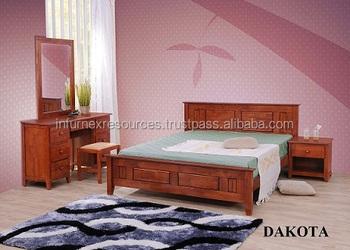 Houten Slaapkamer Meubels : Dakota slaapkamer meubelen bed bijzettafel dressoir houten meubels