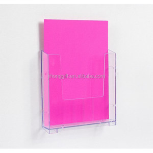 Crystal Leaflet Magazine Sign Holder Stand Office Restaurant A4 Wall Mount Clear Acrylic Brochure Holders