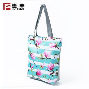 Utility Printed Custom Canvas Promotional Tote Bag , Stripe Canvas Beach Tote Bag Wholesale