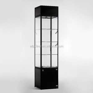 Deluxe lacquered aluminum profile stand showcase, lighted glass vitrine aluminum display stand