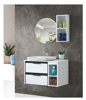 best price chinese bathroom wash and dress double vanity with open window cabinet Mirror cabinet with fog lamp