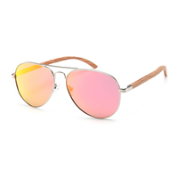 Fancy metal frame wooden arm polarized sunglasses sun shade glasses for women