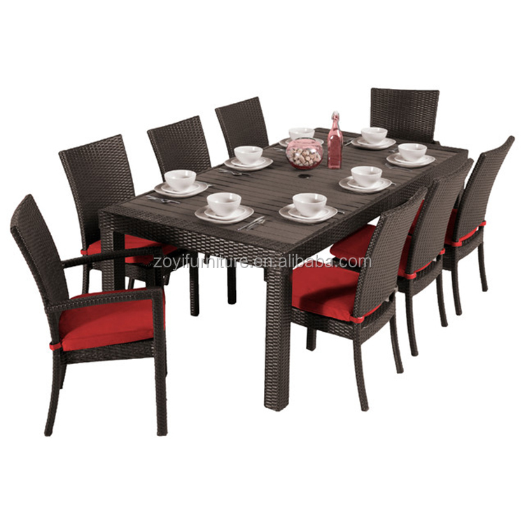 Outdoor Rattan Wicker 9pcs dining chair and table set project hotel furniture