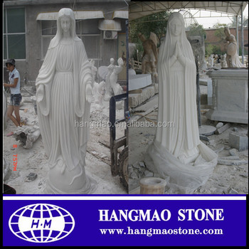 Crystal White Virgin Mary Marble Statue For Garden