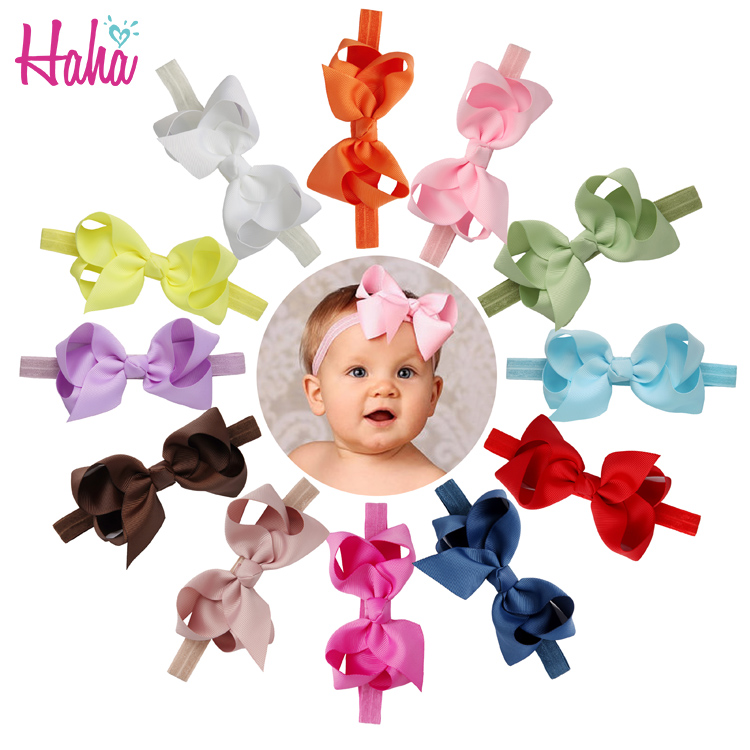 baby Infant Girls Headband Head Wraps Elastic Bands Grosgrain solid Ribbon Bows Tiara Baby Headbands Hair Accessories