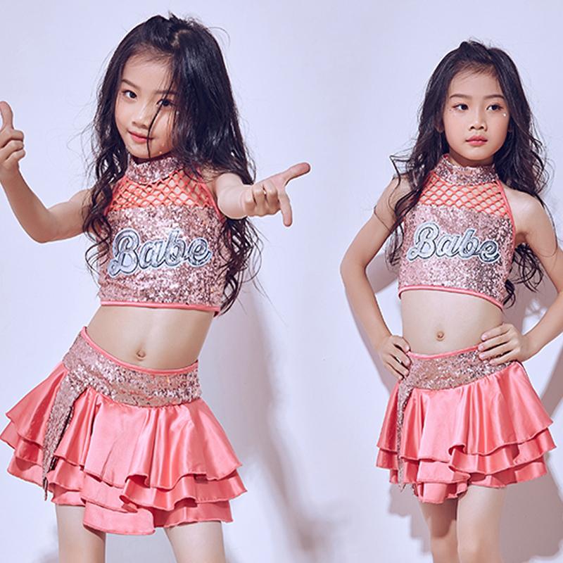 194aff372 Hip Hop traje niñas niño Jazz de animadoras de baile trajes niños ropa de  lentejuelas Rosa