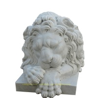 Natural Marble Life Size Sleeping Lion Statue Sculpture