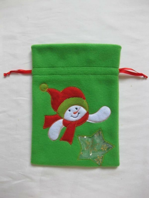 Velvet Christmas drawstring bag for gift