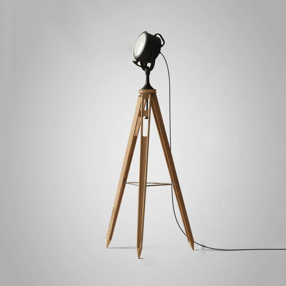 WAN SAN QIAN- Stylish Vintage Retro Industrial Photography Film Studio Style Tripod Floor Lamp Wood and Frosted Lens Design Floor Lamp