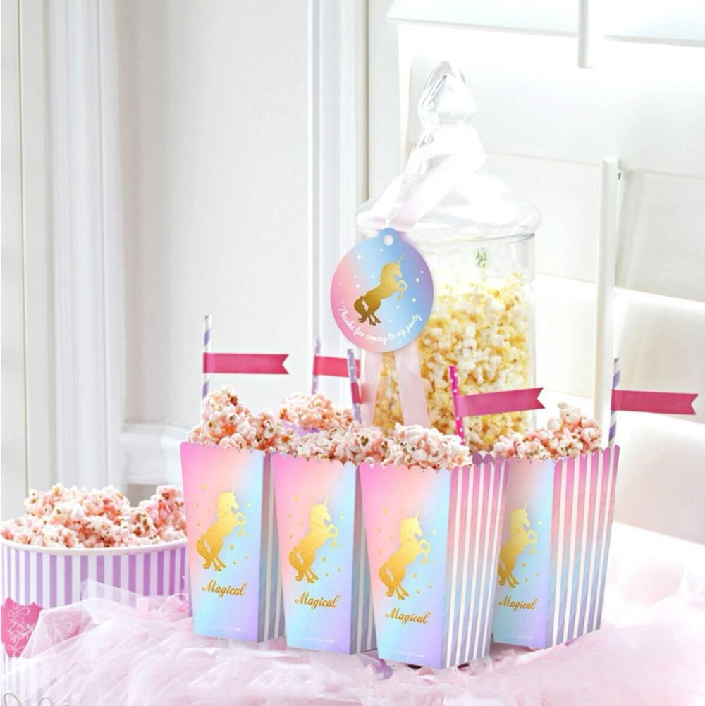 24 Unicorn Popcorn Boxes W GOLD Foil For Birthday /& Baby Shower Favors Magical D