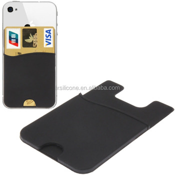 Stick on Business Adhesive Silicone Credit Card Holder for Mobile Phone Device