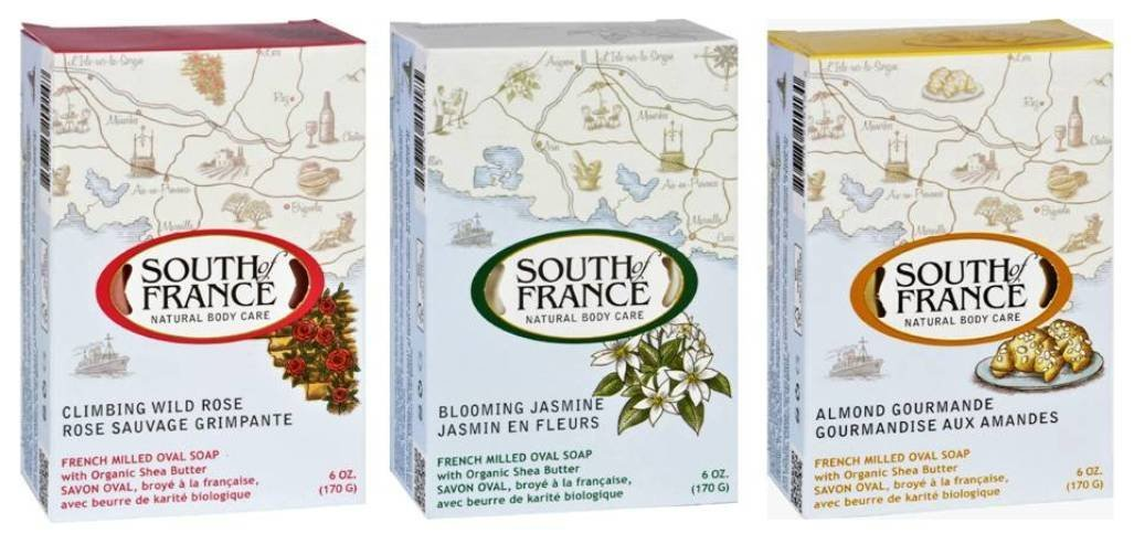 South Of France Natural Body Care Bar Soap 3 Fragrance Variety Bundle: (1) South Of France Climbing Wild Rose, (1) South Of France Blooming Jasmine, and (1) South Of France Almond Gourmande, 6 Oz. ea.