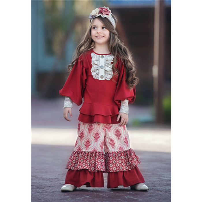 New Arrival Flower Printing Wholesale Children's Boutique Clothing