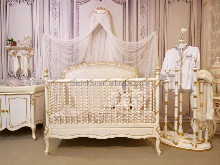 Victoria estilo cuna de madera tallada, elegante blanco y oro ...