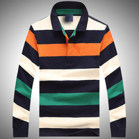P004 Block Stripe Solid Color Mens Fashion Long Sleeve Polo Shirt