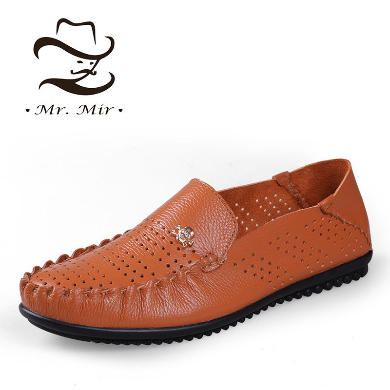 Mr Mir Big Size 5~13 Fashion Genuine Leather Men Flats, Casual Driving Leather Men's Loafers, Brand Moccasins Men Leather Shoes