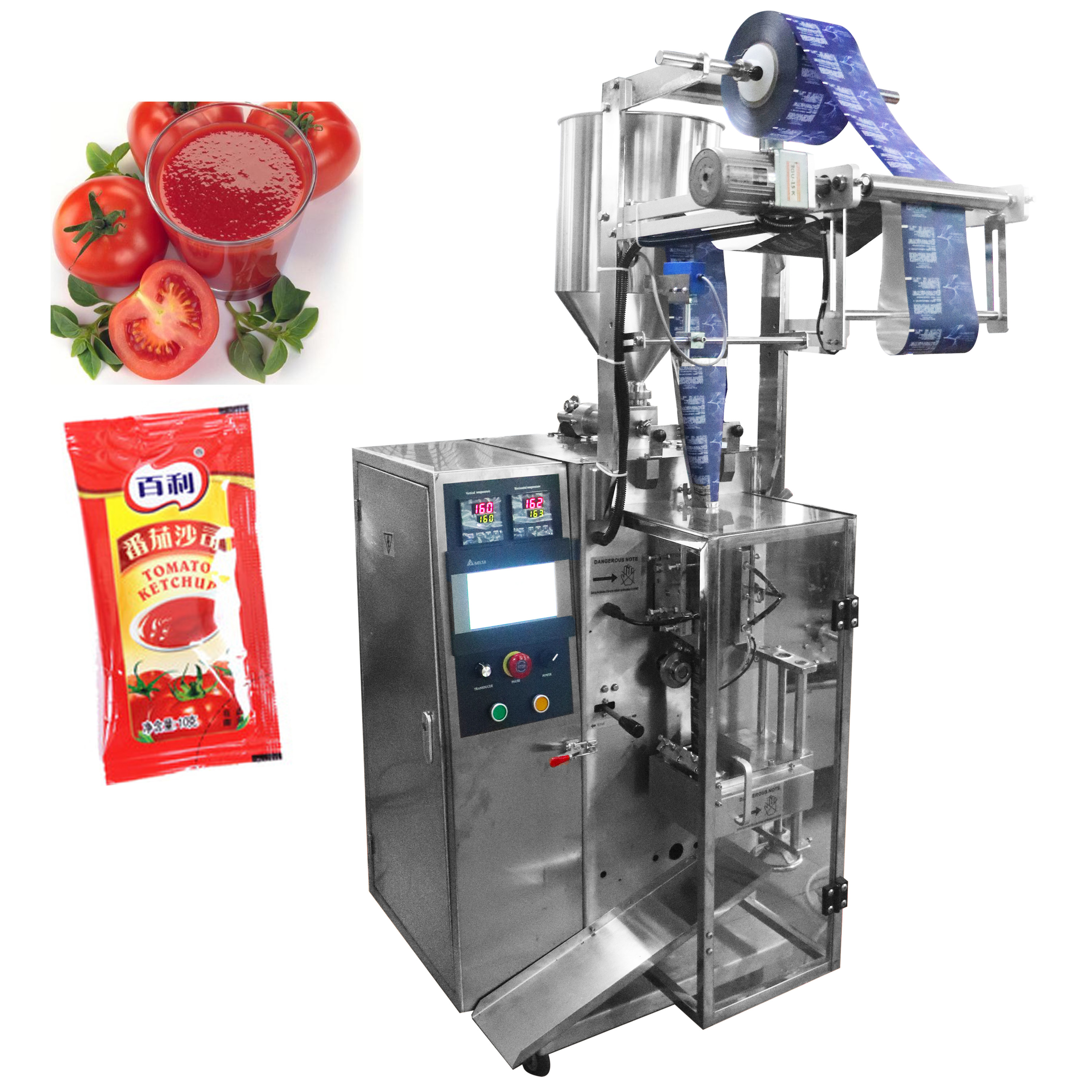 Tomato paste , Honey , Salad sauce stick pouch filling packing machine