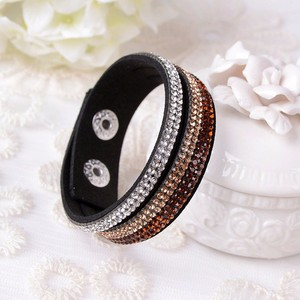 fashion jewelry leather crystal bracelet long crystal bracelet crystal bangles