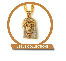 Hip Hop 14K Gold Cross And Jesus Pendant Chain Sets For Men