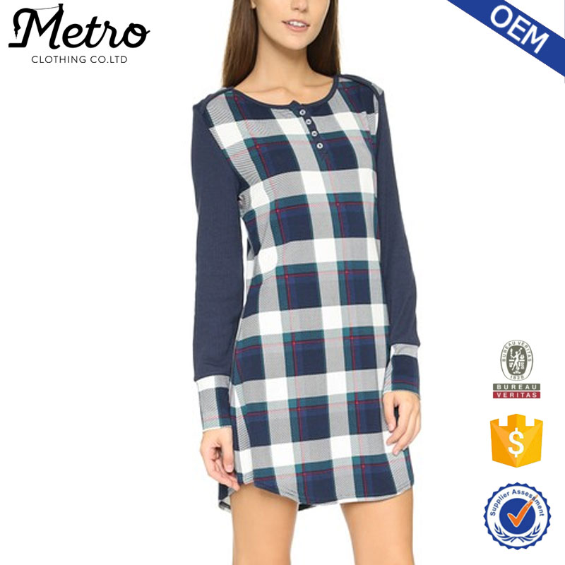 Rayon spandex Jersey urban women checked shirts dress long sleeve