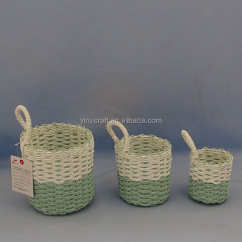 2018 Small Folding Twisted Paper Rope Sundries Basket Set Of 3 In Soft  Weave With 1
