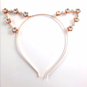 factory direct Super cute cat ears inlaid with diamond alloy hair hoop hair buckle for women