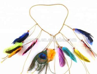 GENYA नीले पंख के साथ लक्जरी दुल्हन क्रिस्टल हस्तनिर्मित साफ़ा Headwear
