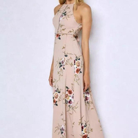 summer hot sale sexy girls backless strap neck prints florals beach party maxi dress